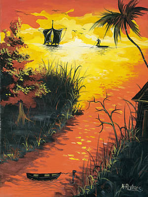 Herold Alvares Painting - Sunset At The Inlet by Herold Alvares