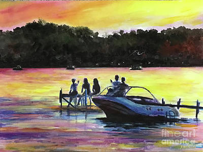 Painting - Sunset At The Lake 3 by Yoshiko Mishina
