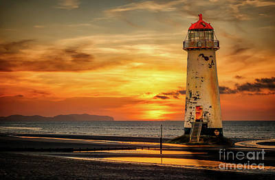 Talacre Photograph - Sunset At The Lighthouse by Adrian Evans