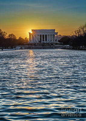 Photograph - Sunset At The Lincoln Memorial by Karen Jorstad