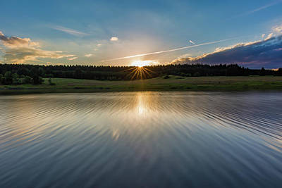 Photograph - Sunset At The Mandelholz Dam, Harz by Andreas Levi