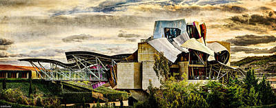 Photograph - sunset at the marques de riscal Hotel - frank gehry - vintage version by Weston Westmoreland