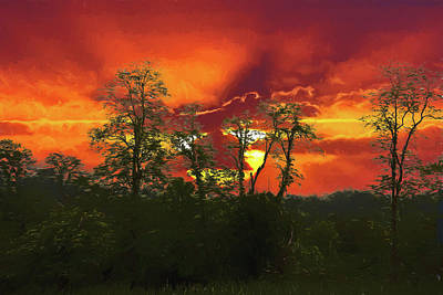 Digital Art - Sunset At The Meadows Of Dan by John Haldane