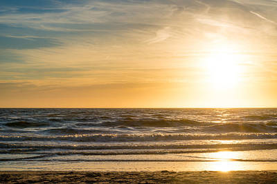 Print featuring the photograph sunset at the North Sea by Hannes Cmarits