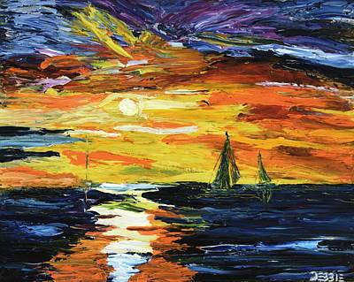 Painting - Sunset At The Oasis Lake Travis by The GYPSY And DEBBIE