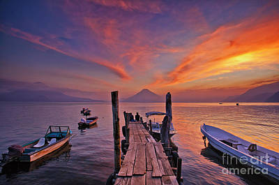 Sunset At The Panajachel Pier On Lake Atitlan, Guatemala Art Print