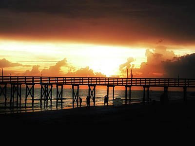 Sunset At The Pier Art Print by Bill Cannon