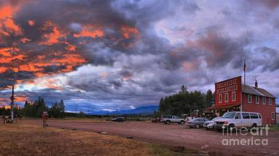 Photograph - Sunset At The Polebridge Mercantile by Adam Jewell