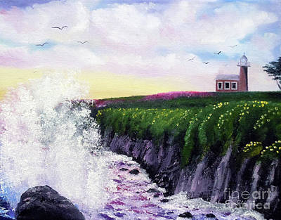 Spring Flowers Painting - Sunset At The Santa Cruz Lighthouse by Laura Iverson