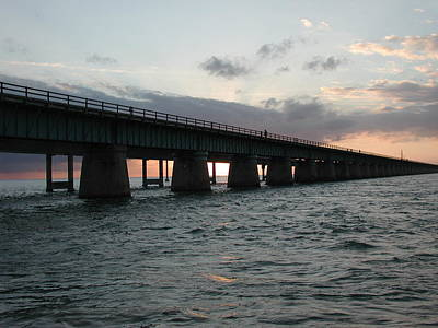 Art Print featuring the photograph Sunset At The Seven Mile Bridge by Nancy Taylor