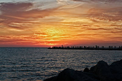 Southwest Florida Sunset Photograph - Sunset At The South Jetty  -  12southjetty0839 by Frank J Benz
