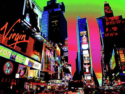 Sunset At Times Square Art Print by Larry Oskin