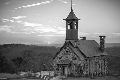 Photograph - Sunset At Top Of The Rock - Black And White - Branson Missouri by Gregory Ballos