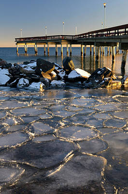 Ontario Photograph - Sunset At Toronto Center Island Pier In Winter With Ice Flows An by Reimar Gaertner