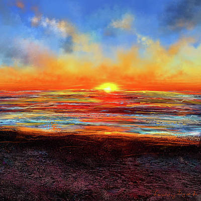 Sports Paintings - Sunset At Torrey Pines by Lourry Legarde