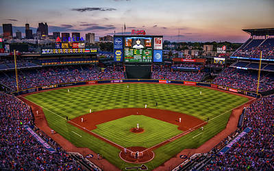 Sunset At Turner Field - Home Of The Atlanta Braves Art Print by Joshua Peacock