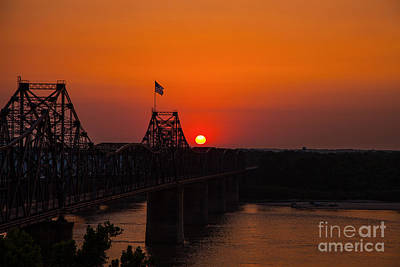Waving Flag Photograph - Sunset At Vicksburg by T Lowry Wilson