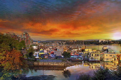 Sunset At Victoria Inner Harbor Fisherman's Wharf Art Print by David Gn