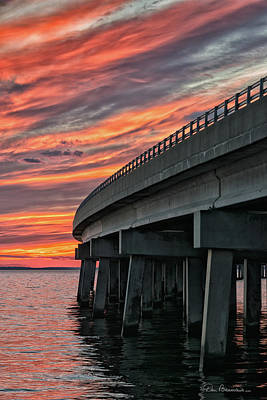 Dan Beauvais Royalty-Free and Rights-Managed Images - Sunset at Virginia Dare Memorial Bridge 4854 by Dan Beauvais