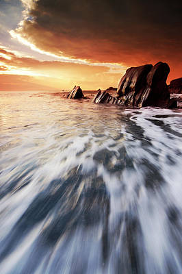 Photograph - Sunset At Welcombe Mouth by Mark Leader