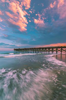 Sunset At Wilmington Crystal Pier In North Carolina Art Print