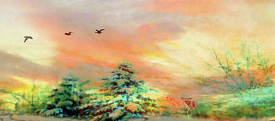 Painting - Sunset At Winter Wonderland by Mike Breau