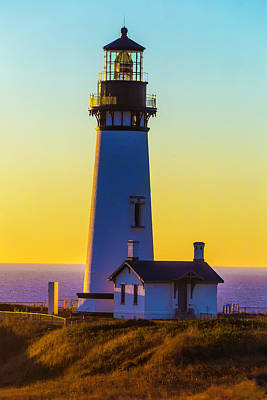 Sunset At Yaquina Head Lighthouse Art Print