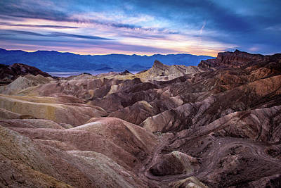 Sunset At Zabriskie Point In Death Valley National Park Art Print