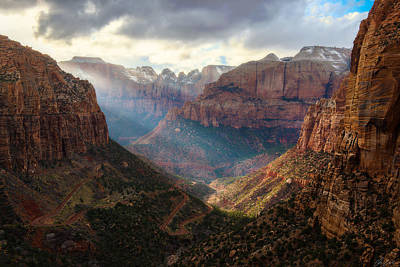 Photograph - Sunset At Zion Canyon Overlook by Owen Weber