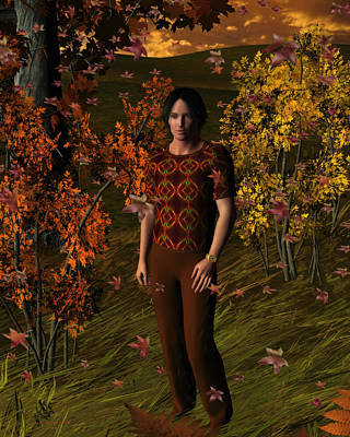 Digital Art - Sunset Autumn Walk by Judi Suni Hall