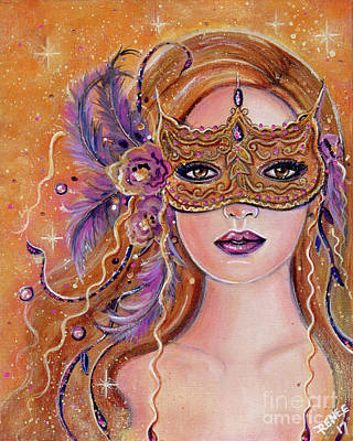 Mardi Gras Painting - Sunset Ball Fantasy Art by Renee Lavoie