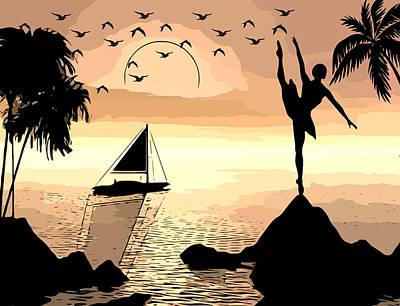 Mixed Media - Sunset Ballerina Dancer Original Digital Abstract Art by Elizavella Bowers