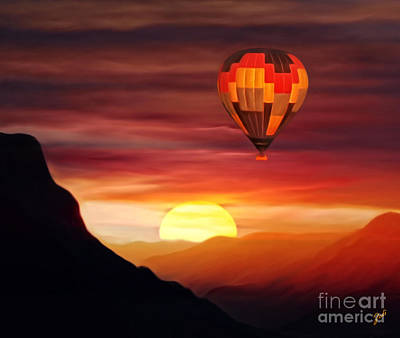 Digital Art - Sunset Balloon Ride by Zedi
