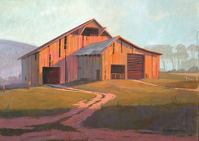 Barn Painting - Sunset Barn by Michael Humphries