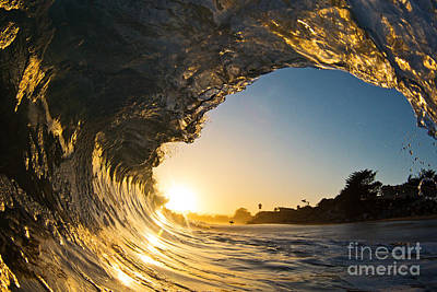 Surfer Photograph - Sunset Barrel Wave On Beach by Paul Topp