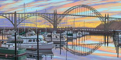 Yaquina Bay Bridge Painting - Sunset Bay by Andrew Palmer