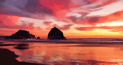 Game Room Digital Art - Sunset Beach by Afterdarkness