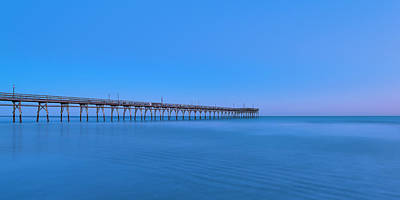 Photograph - Sunset Beach Fishing Pier At Blue Hour Panorama by Ranjay Mitra