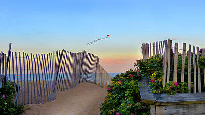 Photograph - Sunset Beach Kite by Christine Green