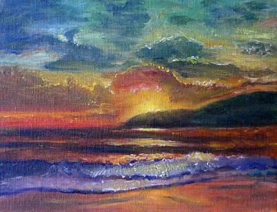 Sunset Beach Art Print by Linda Pope