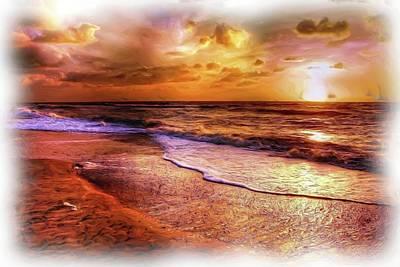 Digital Art - Sunset Beach Oil by Michael Damiani
