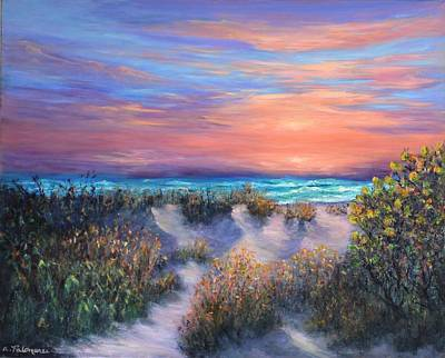 Painting - Sunset Beach Painting With Walking Path And Sand Dunesand Blue Waves by Amber Palomares