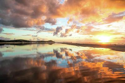 Sunset Beach Reflections Art Print