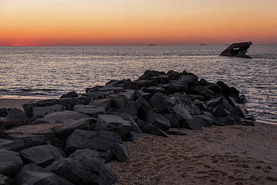 Photograph - Sunset Beach Ship Cape May Point Nj  by Terry DeLuco
