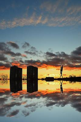 Digital Art - Sunset Behind The Buildings And Sculpture 2  by Lyle Crump