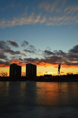 Photograph - Sunset Behind The Buildings And Sculpture by Lyle Crump