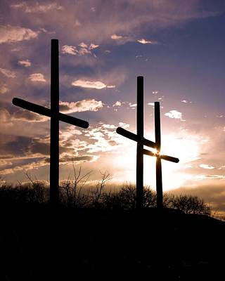 Sunset Behind The Cross Art Print by Tim Abshire