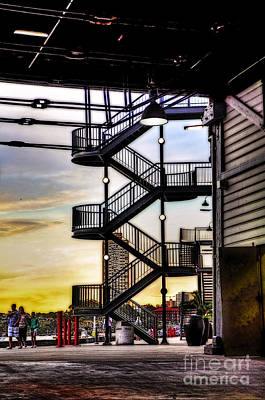 Sunset Behind The Stairs Art Print by Kaye Menner