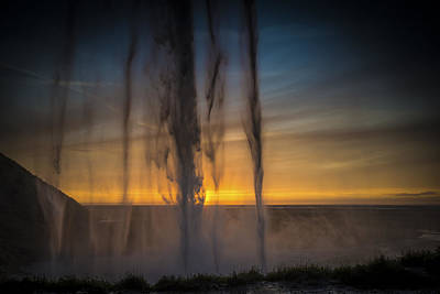 Photograph - Sunset Behind The Waterfall by Chris McKenna