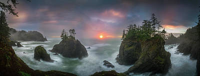 Photograph - Sunset Between Sea Stacks With Trees Of Oregon Coast by William Freebillyphotography